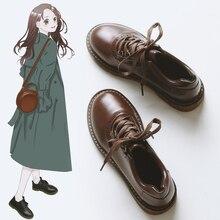 Zapatos Oxford antiguos de piel sintética para mujer, zapatos de tacón plano para mujer, estilo británico, zapatos planos Retro marrón y negro, zapatos para mujer