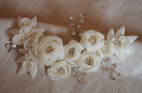 ivory bridal applique with handmade 3D flower for headpiece, sash belt, rhinestone and handmade rosette applique