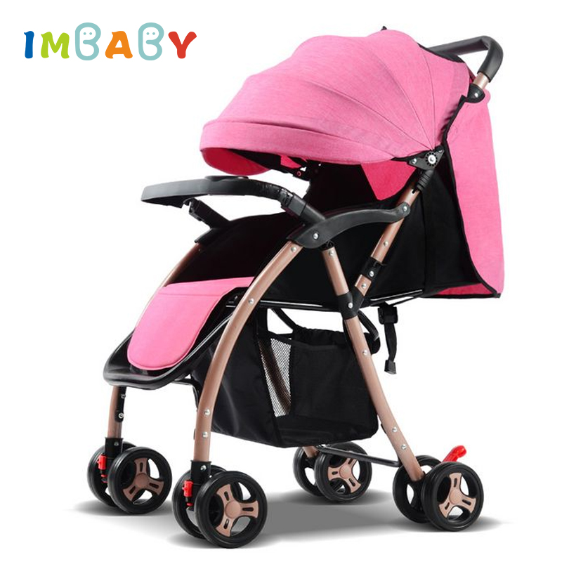 IMBABY Folding High Landscape Baby Stroller For Dolls With 6 Free Gifts Sleeping Bag Light Baby Carriage Pram Baby Pushchair gray baby carriage children luxury pushchair for baby with an umbrella waterproof baby stroller folding light baby pram grey