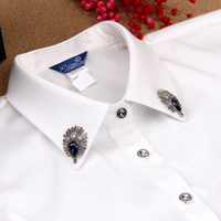 Black White Color Formal Woman Fake Collar Button Rhinestone Decoration Woman Accessories Shirt Collars False Neck