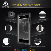 LOVE MEI Aluminum Metal Case For Sony Xperia XA1 Cover Powerful Armor Shockproof Life Waterproof Case For Sony XA1 Ultra Fundas