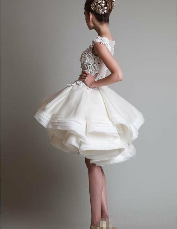 2015 Ebay Prom dresses Jewel Sleeveless Applique Knee Length Organza ...