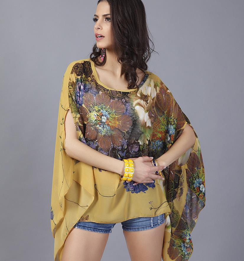 Nové jaro léto ženy halenky módní ležérní ženské topy volné záhyby retro tištěné Blusa šifonová halenka plus velikost