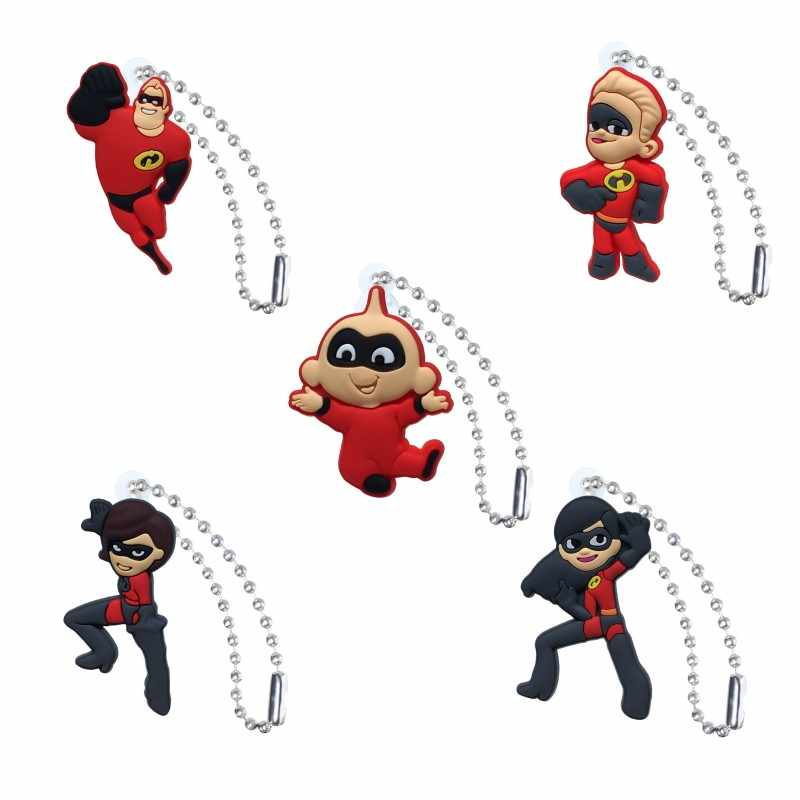 1PCS The Incredibles Keychain Organizer Key Holder Cartoon Figure Key Ring Children DIY Bag Clothes Decor Party Gifts