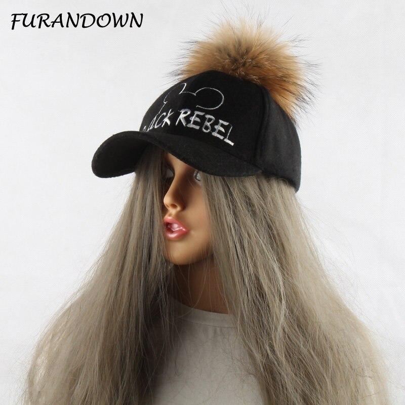FURANDOWN 2017 piel pompones gorra de béisbol para mujeres niños primavera  otoño niño sombrero de béisbol b2889769b4c