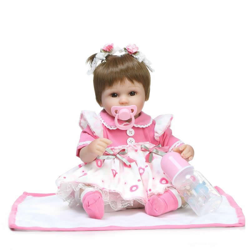 ⑤Brown Eyes Silicone Baby Dolls ③ 17 17 Inch Real Touch இ