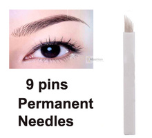 30pcs Eyebrow 9 Pins Permanent Makeup Needles For Eye Tattoos Prong Flat Blades 3d Microblading Embroidery