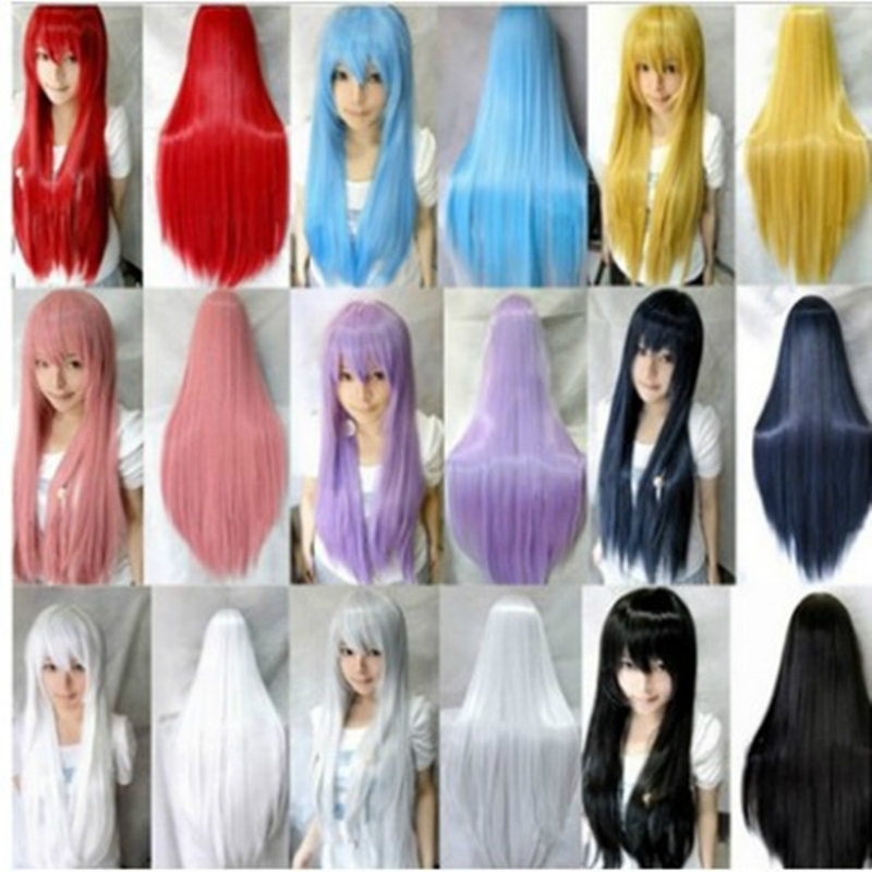 80cm Straight Loose Synthetic Wigs For Black Women Cosplay Wig Blonde Blue Red Pink Grey Purple Hair For Human Party