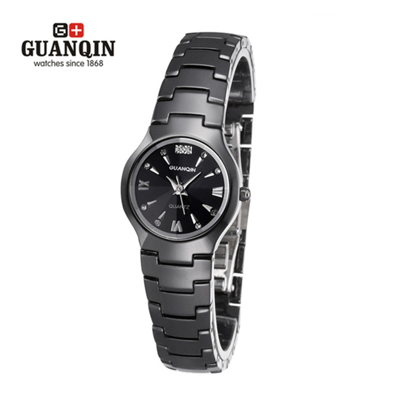 Luxury Brand Watch GUANQIN Women Watches Sapphire Waterproof Ladies Quartz Watch Dress Female Ceramic Wristwatches Montre Femme women men quartz silver watches onlyou brand luxury ladies dress watch steel wristwatches male female watch date clock 8877