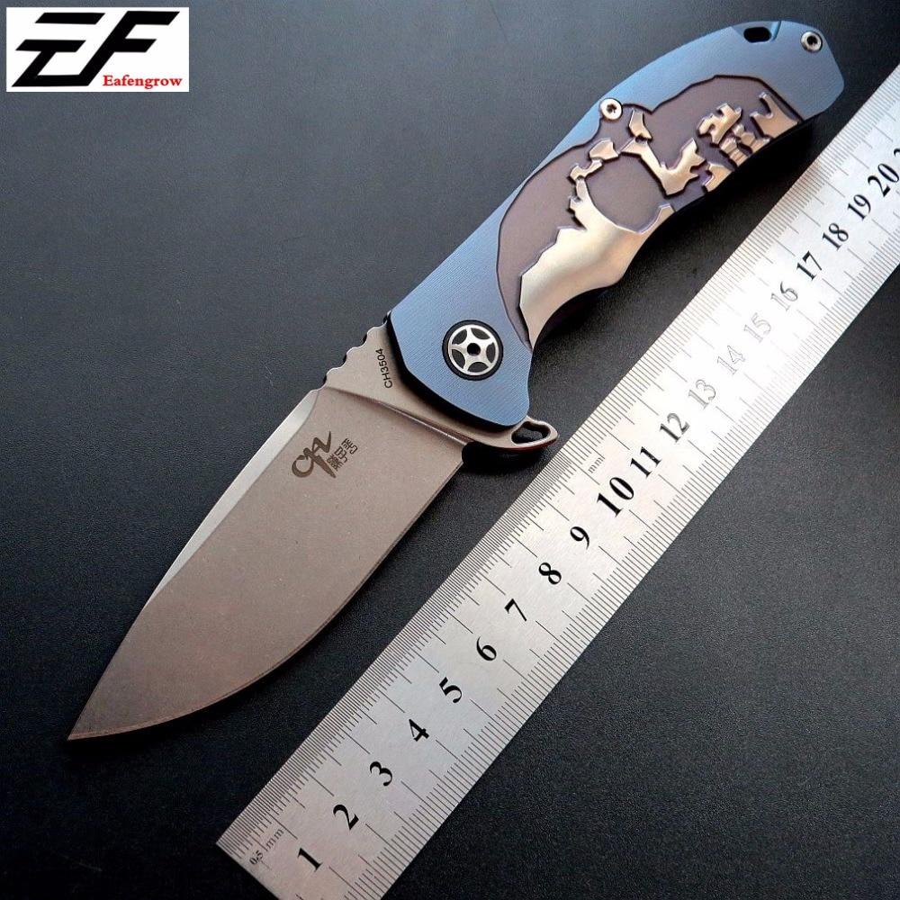 Alta qualidade ch 3504 faca dobrável s35vn lâmina de aço bolso faca tc4 titânio lidar com rolamento de esferas faca acampamento