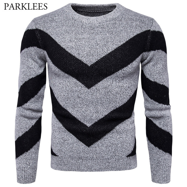 bb973307b0 Sweater Men 2017 Fashion Design Mens Knitted Sweaters Double V Pattern  Striped Pullover Men Casual Slim Fit Sweater Masculino
