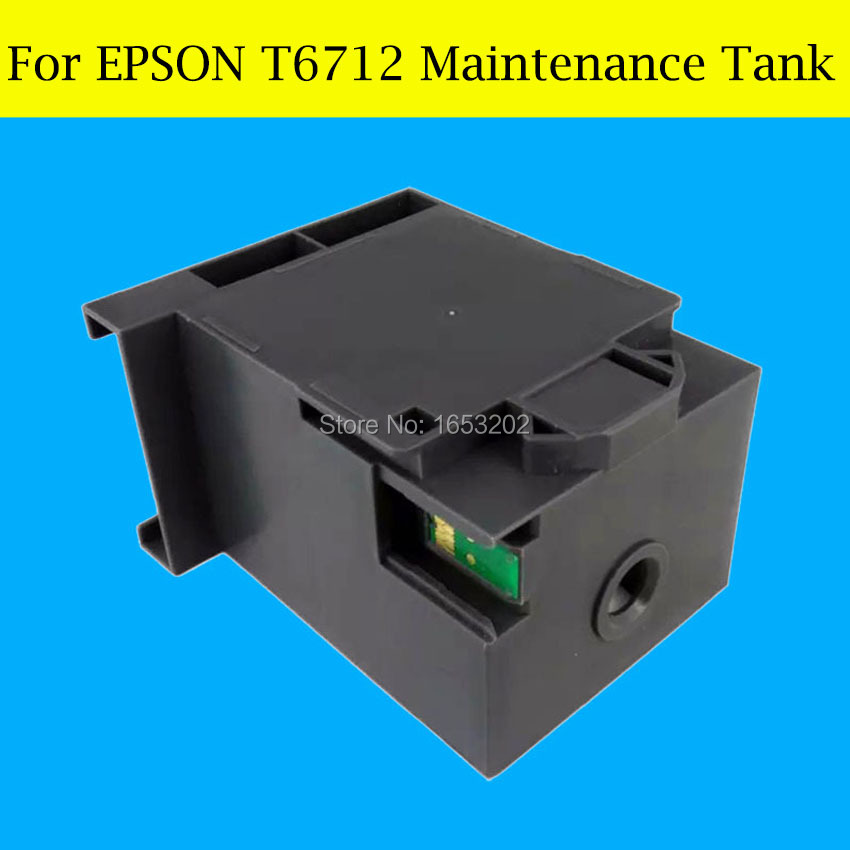 Newest !! 1 Piece T6712 Maintenance Tank Box For Epson PX-M7050F S7050 M860F S860 8590 8590 Printer 4color 1000ml bottle sublimation ink refill kit for epson ic93 for epson workforce px m7050 px s7050 m860f s860 printer