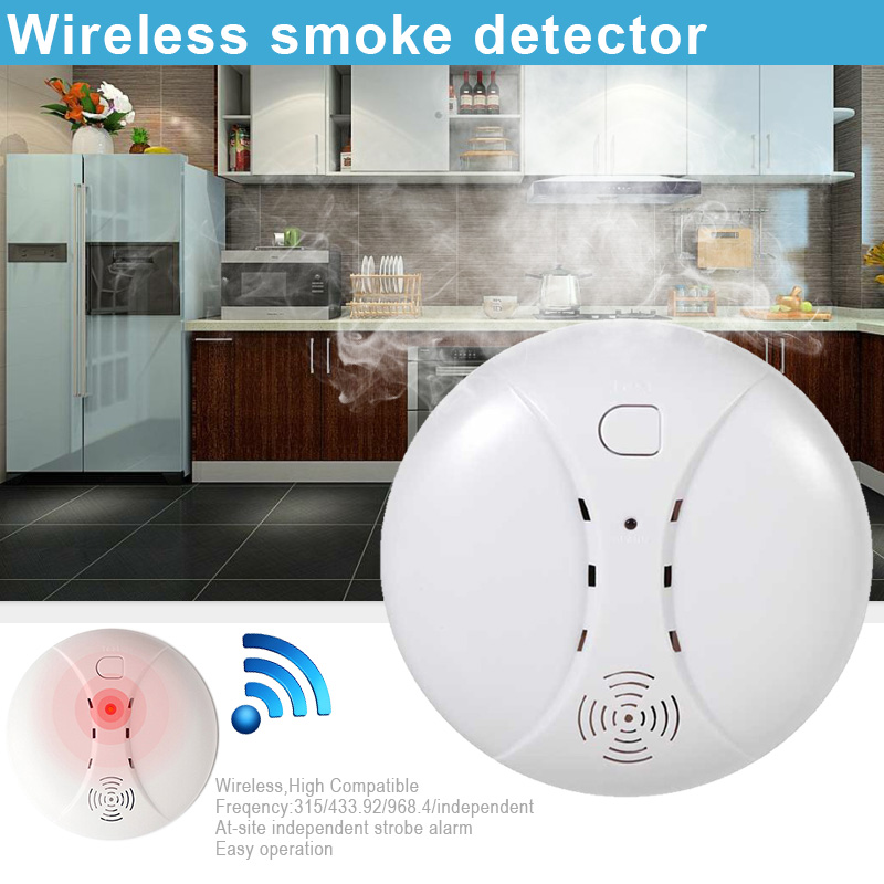 Wireless Smoke Detector Portable Fire Protection Alarm Sensors For Home Security LCC77
