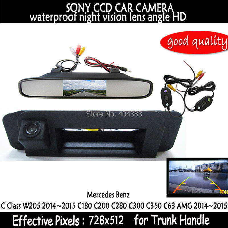 For Mercedes Benz C180 C200 C280 C300 C350 C63 AMG Car wireless Rear View Camera Reverse Camera  sony Trunk handle with monitor