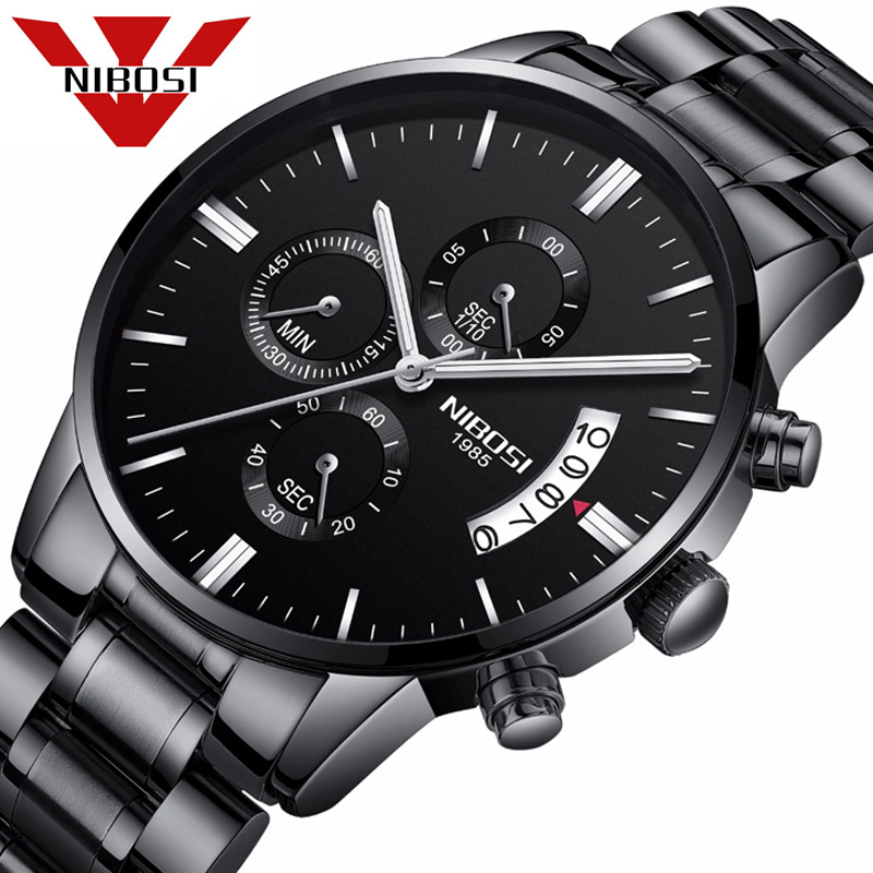 NIBOSI Mens Watches Top Brand Luxury Chronograph Watch Men Stainless Steel Quartz Watches Black Male Watches Relogio Masculino