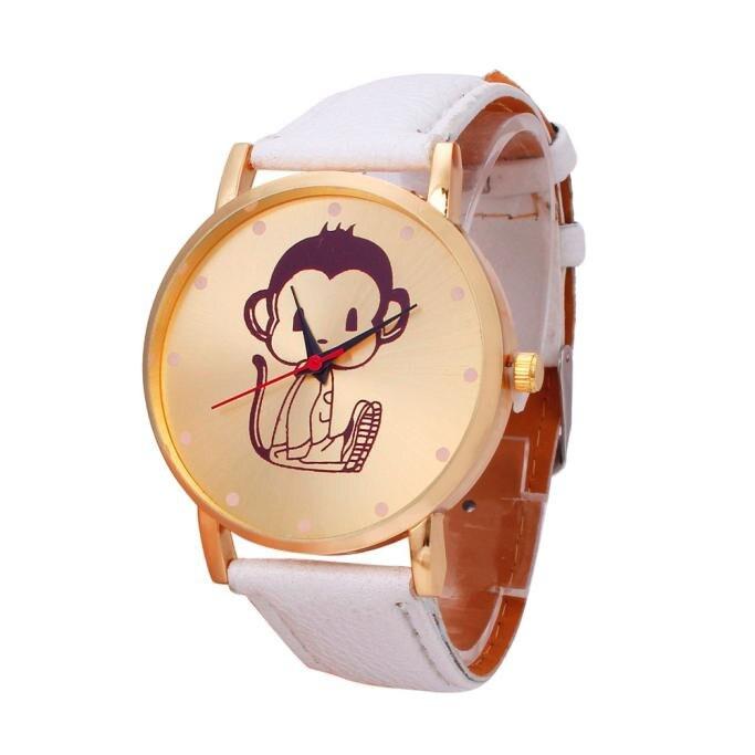 Supply Women Watches Fashion Monkey Pattern Leather Band Analog Quartz Vogue Wrist Watch Girls Casual Lovely Bracelet Clock Relogio A70 Watches