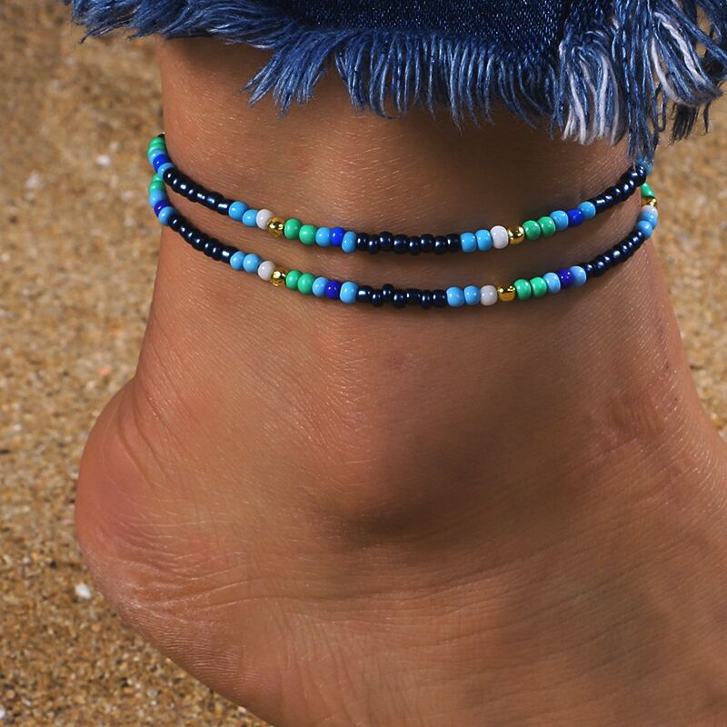 Bohemian Tassel Beads Anklets Bracelets Fashion Double Layer Multi Color Beaded Wedding Gift For Female