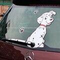 Авто стайлинг Горячая Забавный Мультфильм Пятнистая собака Движется Хвост наклейки Наклейки Светоотражающие Автомобилей Стеклоочиститель Наклейки автомобильные аксессуары