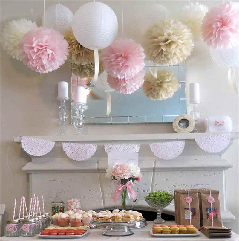 4-6-8-10-12-14-16inch Round Paper Lanterns Tissue Paper Flower Balls for Wedding Birthday Party Decoration DIY Crafts Supplies