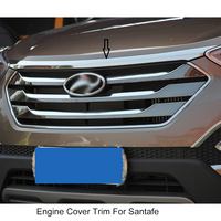 Chrome stainless steel hood garnish Front Engine Machine Lid Cover Trim Trims for 2013 2014 2015 Hyundai New Santa Fe IX45