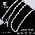 SALE TOP SALE Retail Wholesale Quality Classic Jewelry silver Chain Necklace Women/Man necklace 2mm Rope Chain 925  jewelry