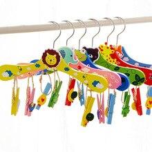 60 шт. 28 см детские штаны клипы деревянные мультфильм животных Для детей скольжению брюки стеллажи шкаф одежды Организатор wen6883