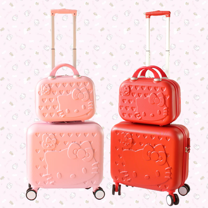 14 cosmetic box+16 luggage(2pieces/set) abs cartoon hardside trolley luggage bags set,female pink hello kt travel luggage