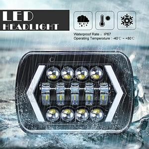 Image 3 - 90W 7X6 5X7 LED Headlight Arrows White DRL Amber Turn Signal For Jeep Wrangler YJ Cherokee XJ Trucks H4 LED Square Headlights
