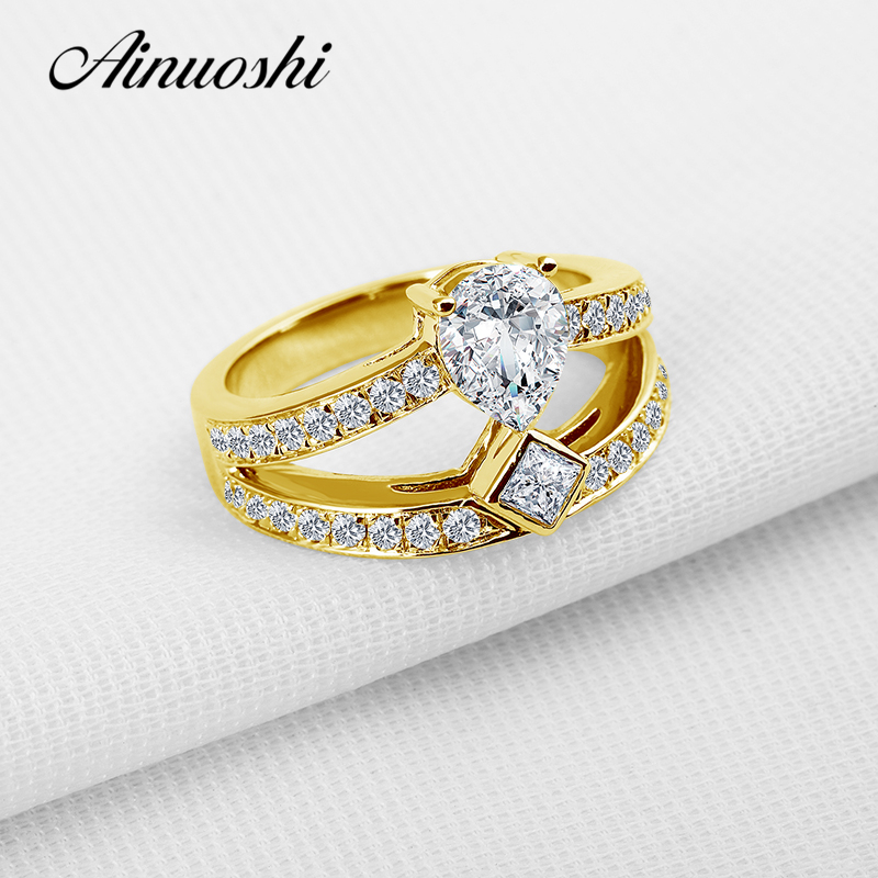 AINUOSHI 10K Solid Yellow Gold Women Wedding Rings 1 ct Pear Cut Sona Simulated Diamond Bague Female for Lover Promise Band RingAINUOSHI 10K Solid Yellow Gold Women Wedding Rings 1 ct Pear Cut Sona Simulated Diamond Bague Female for Lover Promise Band Ring