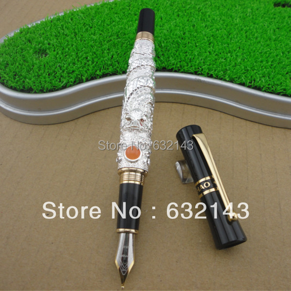 FREE SHIPPING NEW JINHAO 41 NOBLE SILVER MEDIUM NIB FOUNTAIN PEN DRAGON EMBOSSED new jinhao gray fountain pen broad nib two dragon play the pearl without original box