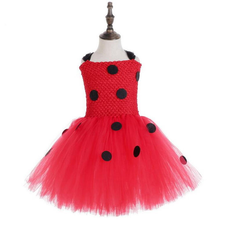 Girls Ladybug Costume Baby Girl Birthday Party Tutu Dress Kids Halloween Lady bug Costume Outfit Ladybird Girls Fancy Dress