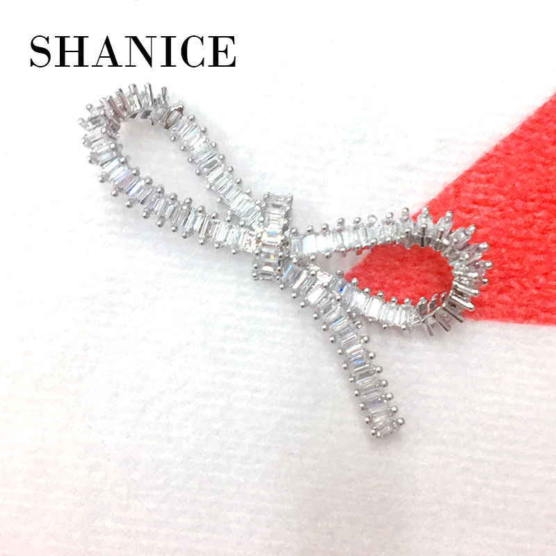 SHANICE DIY Jewelry 50*25mm Bow Shape Knot CZ Micro Paved Necklace Pendant Connectors For Fine Jewellery Bracelets Making