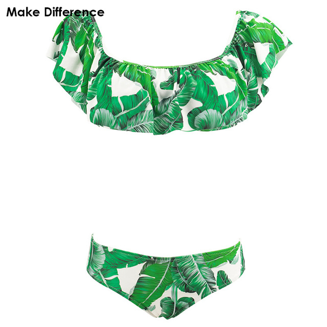 d692b7d0b2 Make Difference New Ruffled Bikini 2018 Women's Swimwear Tropical Plants  Print Swimming Bathing Suits May Female