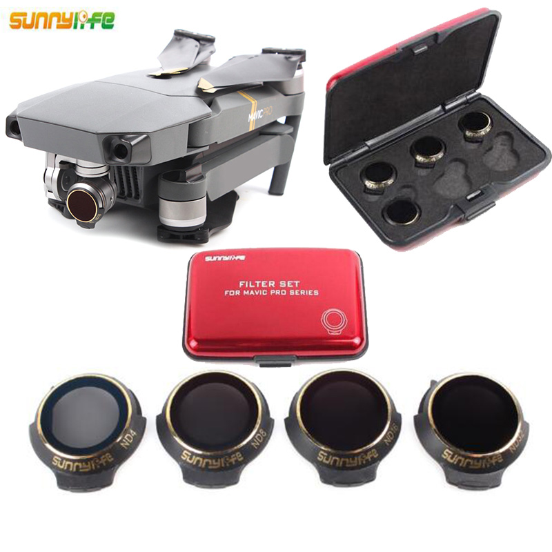 Snap On ND Filters Set 4Pcs ND4/8/16/32 Camera Lens Filter Bundle set Kit For DJI for DJI MAVIC Pro/platinum Camera Drone original dji mavic air nd filters set nd4 8 16 for mavic air camera drone filter 3pcs filter dji mavic air accessories