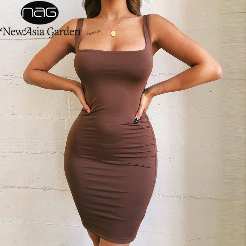 NewAsia Sexy Black Mini Dress Summer Wide Strap Bodycon Dress Neon Green Casual Party Club Wear Tight Dress Orange Purple Brown