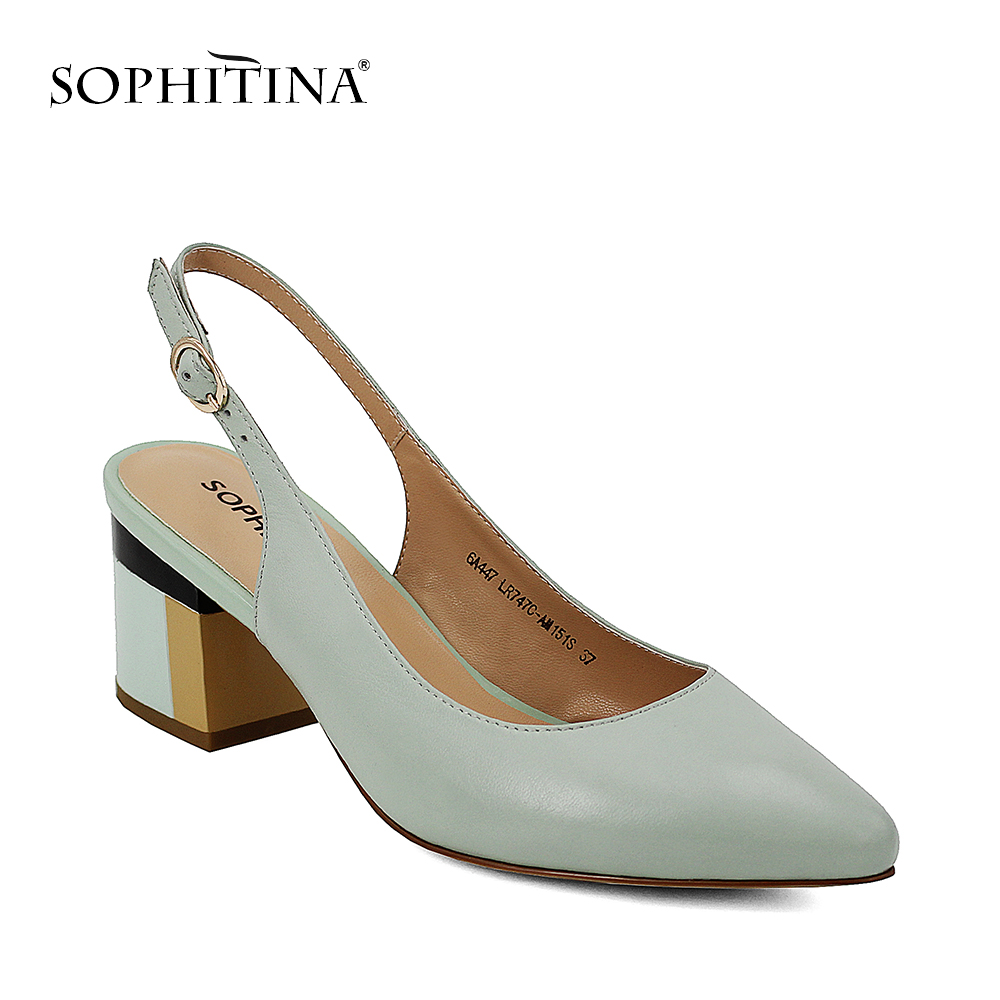 SOPHITINA Handmade Genuine Leather Shoes Lady Sandals Sexy Pointed Toe Square Heel Light Buckle Strap Classic