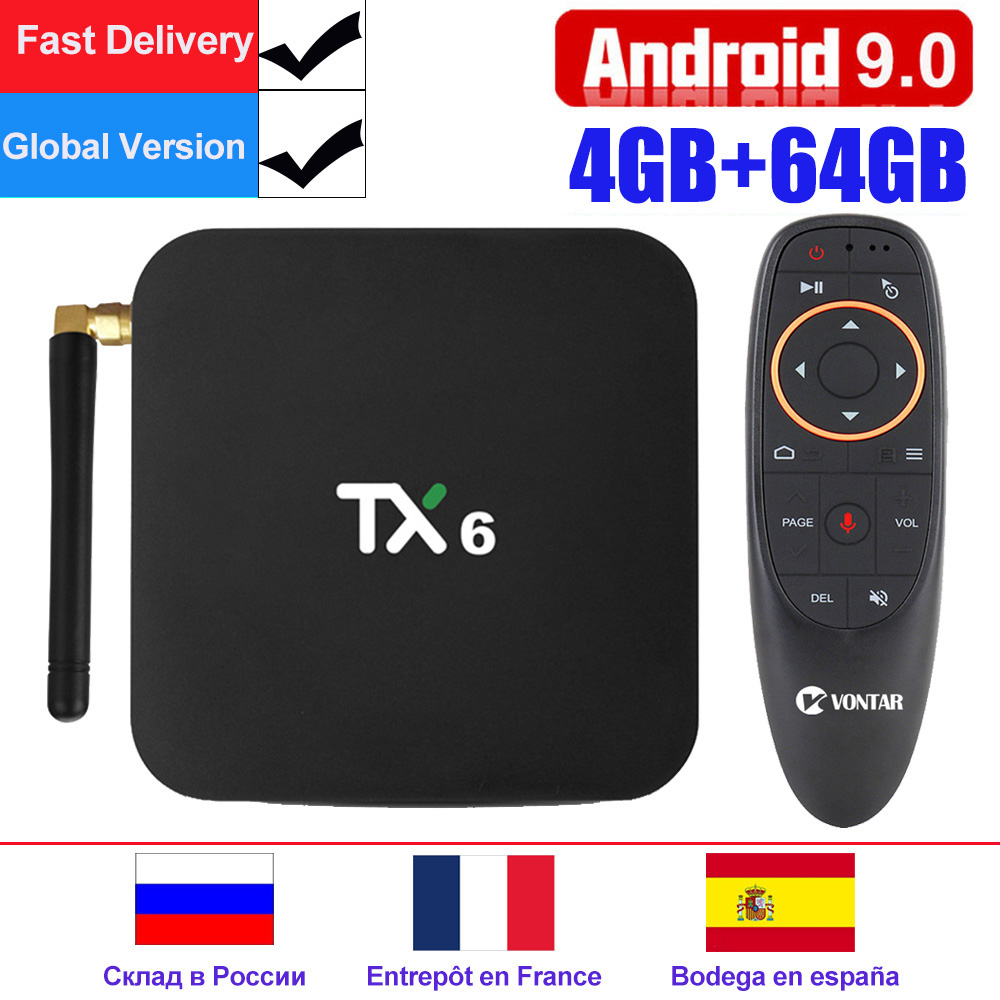 TX6 Android 9.0 Smart TV Box android Box Allwinner H6 4GB RAM 32GB ROM Support 4K H.265 2.4G/5GHz WiFi BT4.1 lecteur multimédia