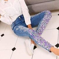 Jeans Rhinestones Diamond Pocket Jeans Women Pants Streetwear