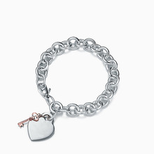 SHINETUNG TIFF 1:1 925 Sterling Silver Ladies Heart Tag Key Bracelet 2019 Fashion Jewelry European and American Style Jewelry(China)