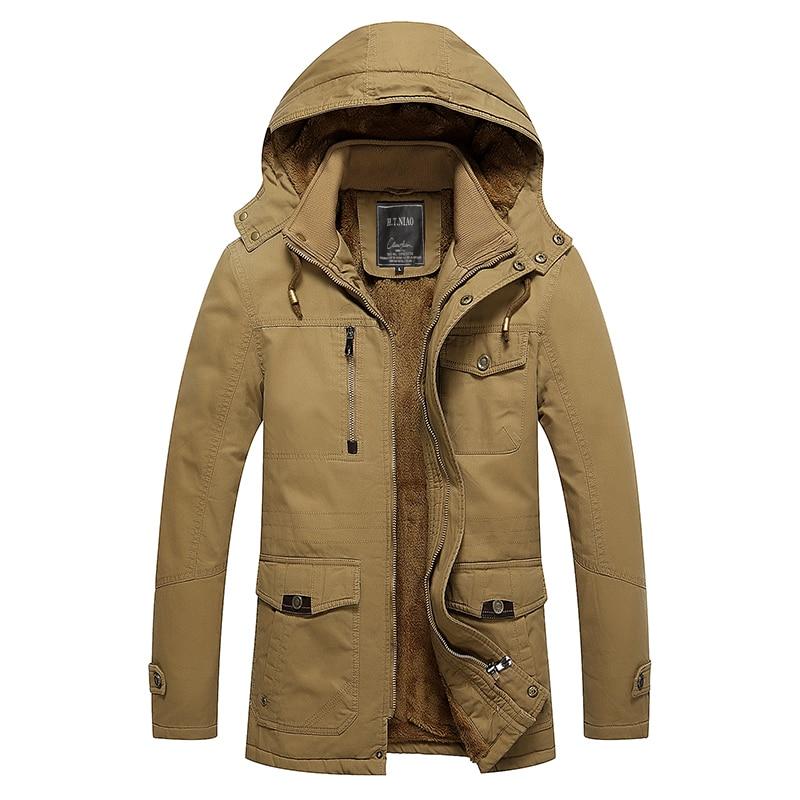 Addensare parka uomo 2016 di alta qualità fleece liner lana giacca Invernale uomini US army stile giacca a vento caldo parka in cotone cappotto-in Parka da Abbigliamento da uomo su  Gruppo 1