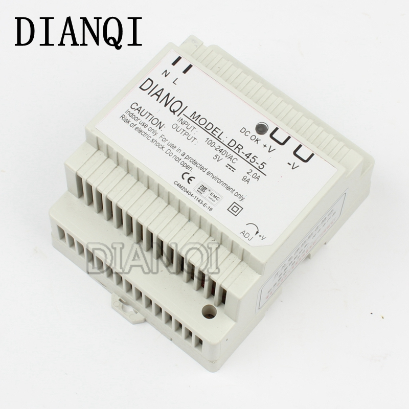 все цены на DIANQI Din rail power supply 45w 5V power suply 5v 45w ac dc converter dr-45-5 good quality онлайн
