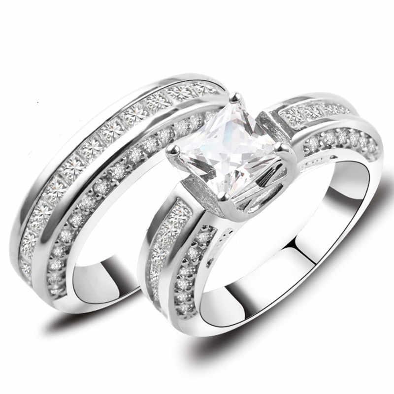 2019 ใหม่สีขาวคริสตัลแหวน Zircon สำหรับผู้หญิงผู้ชายแหวนหมั้นแหวนคู่สีขาวทอง CZ Birthstone เครื่องประดับอุปกรณ์เสริม