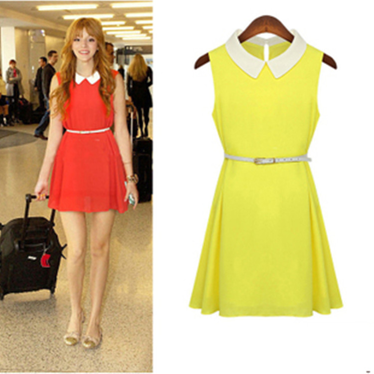 2013 women's plus size fashion tank dress solid color slim sleeveless peter pan collar chiffon one-piece dress