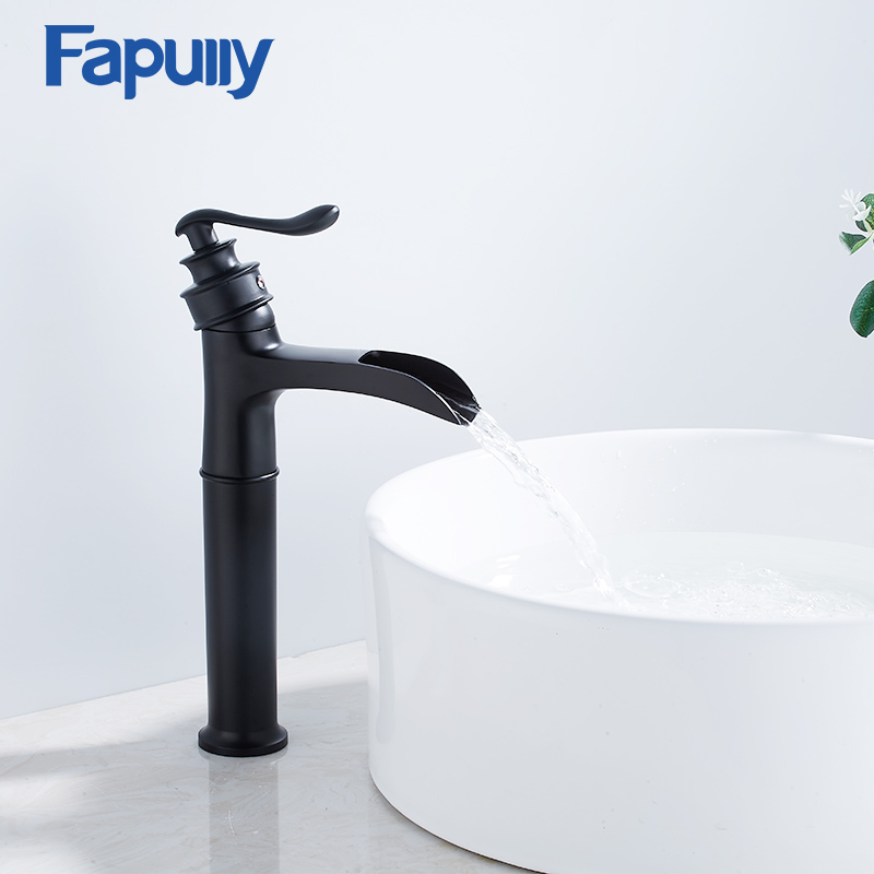 Fapully Basin Faucet Waterfall Faucet Brass Black Painting Tall Hot and Cold Modem Waterfall Basin Bathroom Mixer Faucet 1062-22Fapully Basin Faucet Waterfall Faucet Brass Black Painting Tall Hot and Cold Modem Waterfall Basin Bathroom Mixer Faucet 1062-22