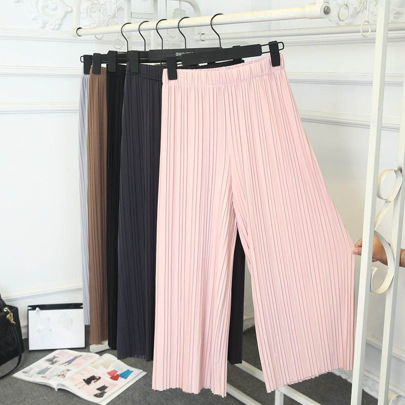 2019 Spring Summer Pleated Chiffon   Pants   Women Pantalon Femme Thin   Wide     Leg     Pants   Plus Size Bohemian Beach Trousers Women C4209
