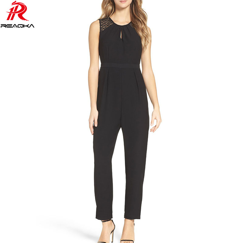 054f4f82a9 Reaqka Sexy Women Summer Sleeveless Jumpsuits Rompers Casual Lace Solid  Full Length Bodysuit Long Playsuits Backless