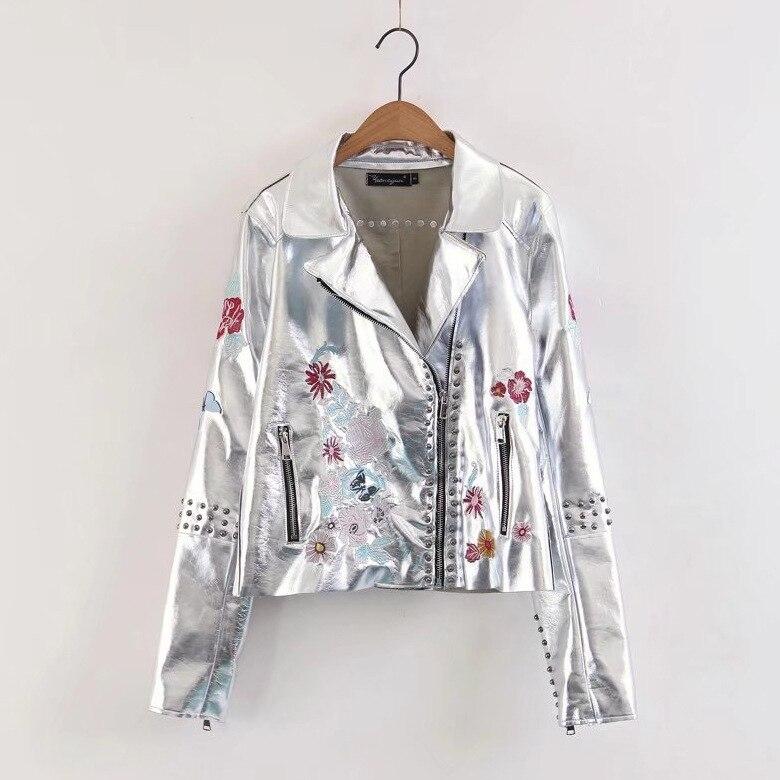 2017 Herbst Frauen Hohe Qualität Mode Revers Langarm Pu Silber Jacke Damen Reißverschlüsse Blumen Stickerei Leder Mantel Outwear