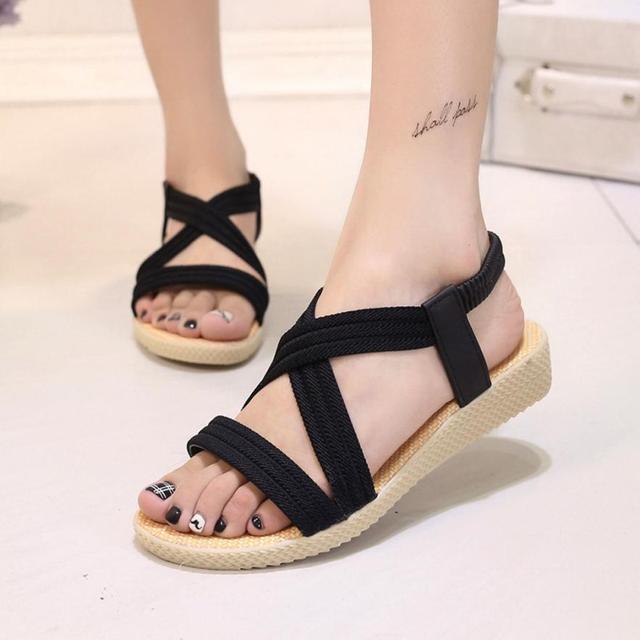 560da37cd mokingtop Women Flat Shoes Bandage Bohemia Leisure Lady Sandals Peep-Toe  Outdoor Shoes summer sandals for women