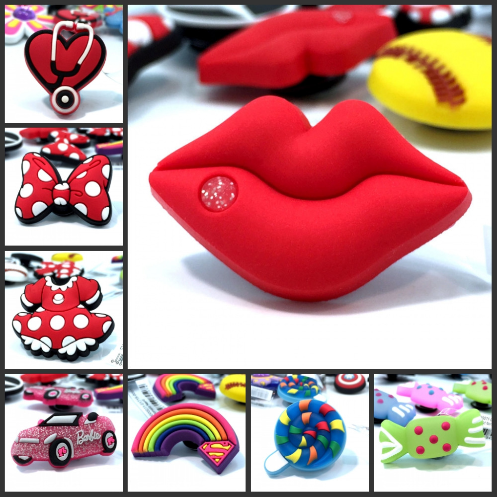 1pcs Red Lips/Bowknot/Rainbow High Quality PVC Shoe Charms Shoes Accessories Croc Decorations Jibz Shoe Buckles Kids Gift