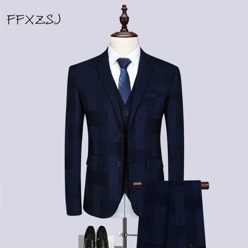 (Jacket + Trousers + Vest) 2019 Men's Fashion Business Men's Suit Leisure Wedding Bride And Ball Deluxe Suit Decorated Suits